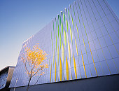 Colorful wall of modern office building.