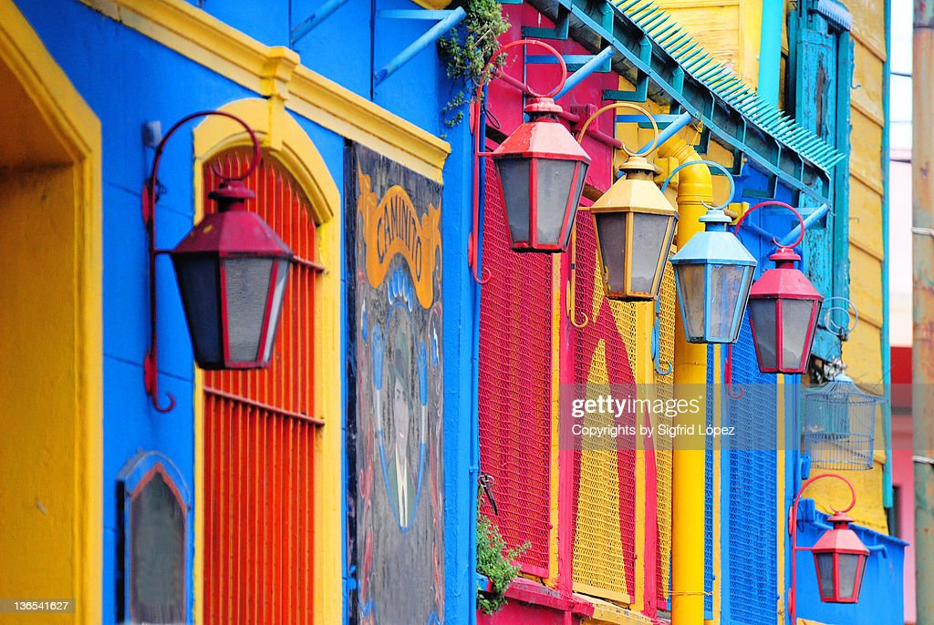Colorful walls and lamp : Stock Photo