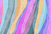 Abstract colorful zebra striped  pattern watercolor background. Colorful watercolor animal skin pattern
