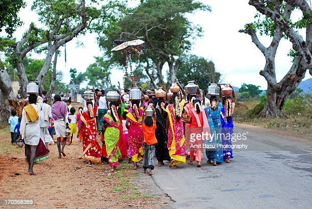 A colorful wedding procession in South India
