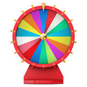 Colorful wheel of luck or fortune. Realistic spinning fortune wheel. Wheel fortune isolated on white background. 3d illustration