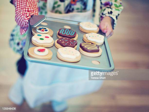 Colorful wooden cookies on tray