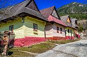 VLKOLINEC, SLOVAKIA - APRIL 2: Rural colorful cottages in Unesco village on April 2, 2018 in Vlkolinec