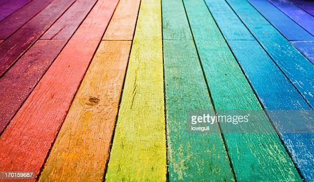 カラフルな木製の床