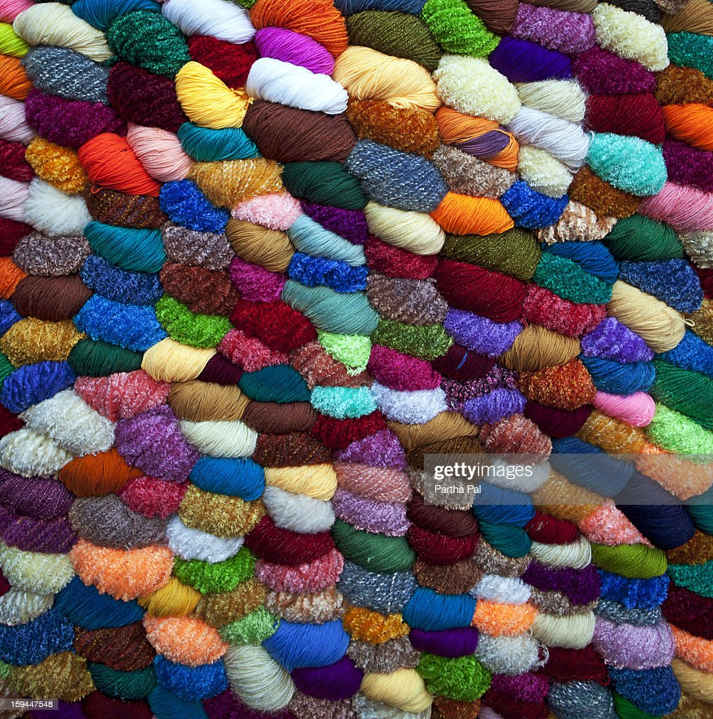 Colorful wool for sale,winter season  : Stock Photo