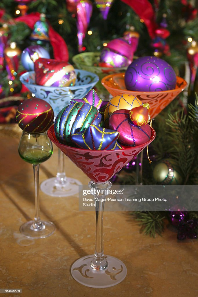 Colorfully Decorated Christmas Tree Baubles Arranged In
