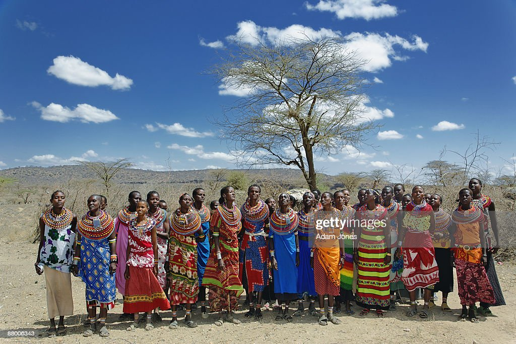 Colorfully dressed Samburu women : Stock Photo