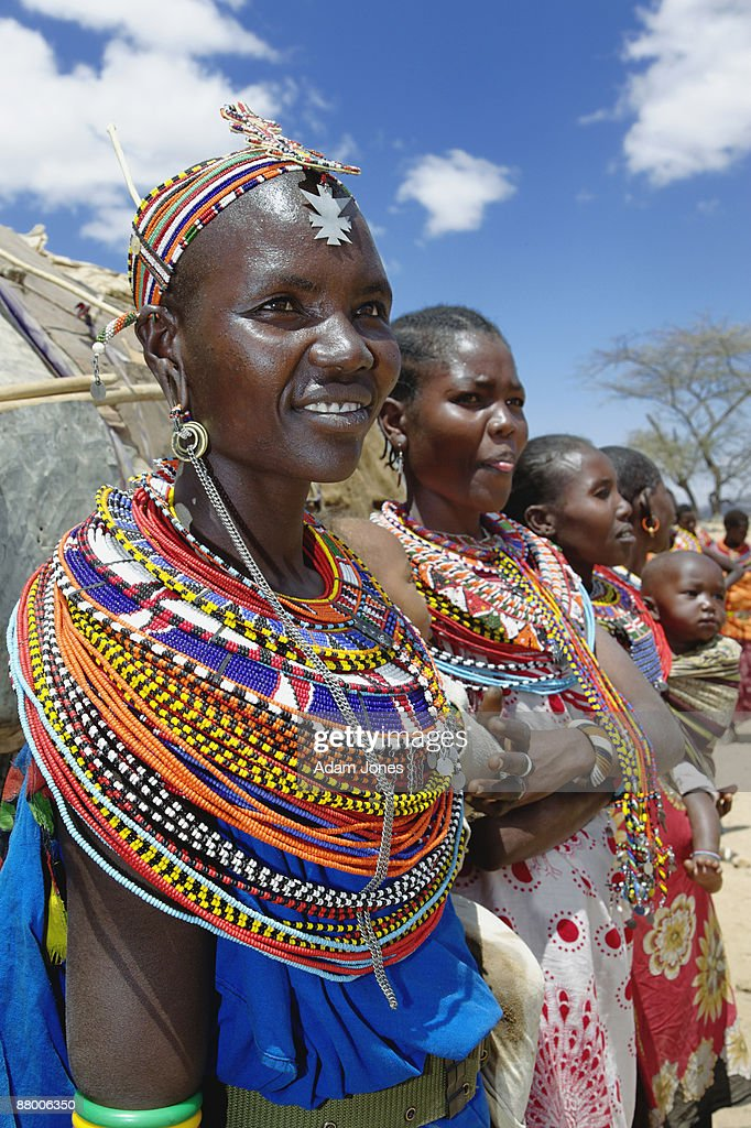 Colorfully dressed Samburu women : Stock Photo