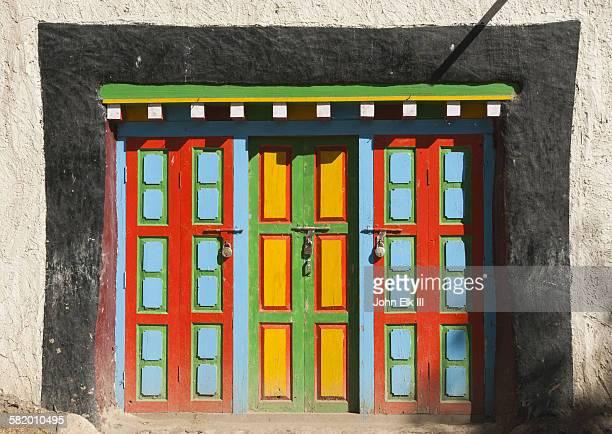 Colorfully painted doorway in Nepal