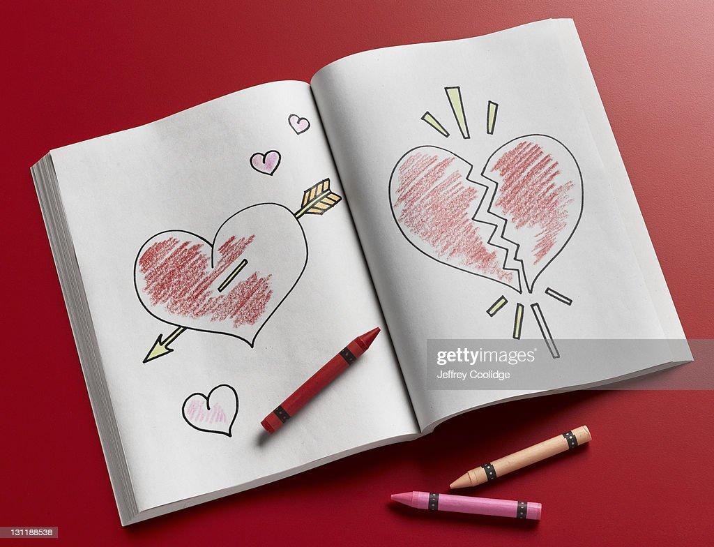 Coloring Book, Broken Heart, Love : Stock Photo