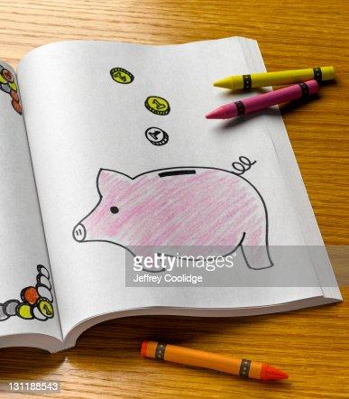 Coloring Book, Piggy Bank
