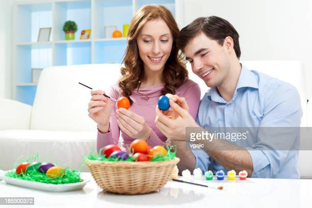 Coloring Easter Eggs.