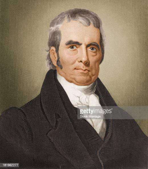 Colorized engraved portrait of American jurist Chief Justice of the US Supreme Court John Marshall early late 18th or early 19th century