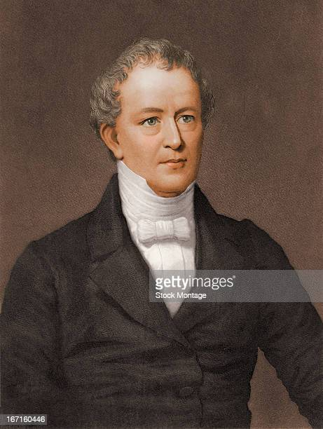 Colorized engraved portrait of American politician and orator Edward Everett mid 19th century Everett served as a member of US House of...