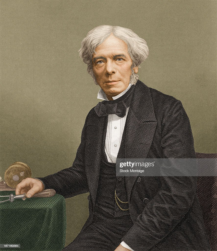 Colorized engraved portrait of British chemist and physicist Michael Faraday mid 19th century