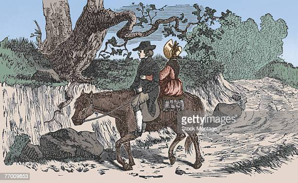 Colorized engraving shows a man and a women on a horse on a roughhewn road 18th century
