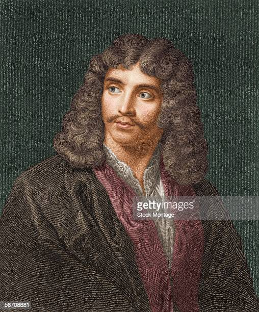 Colorized engraving shows a portrait of French writer Moliere late 1600s
