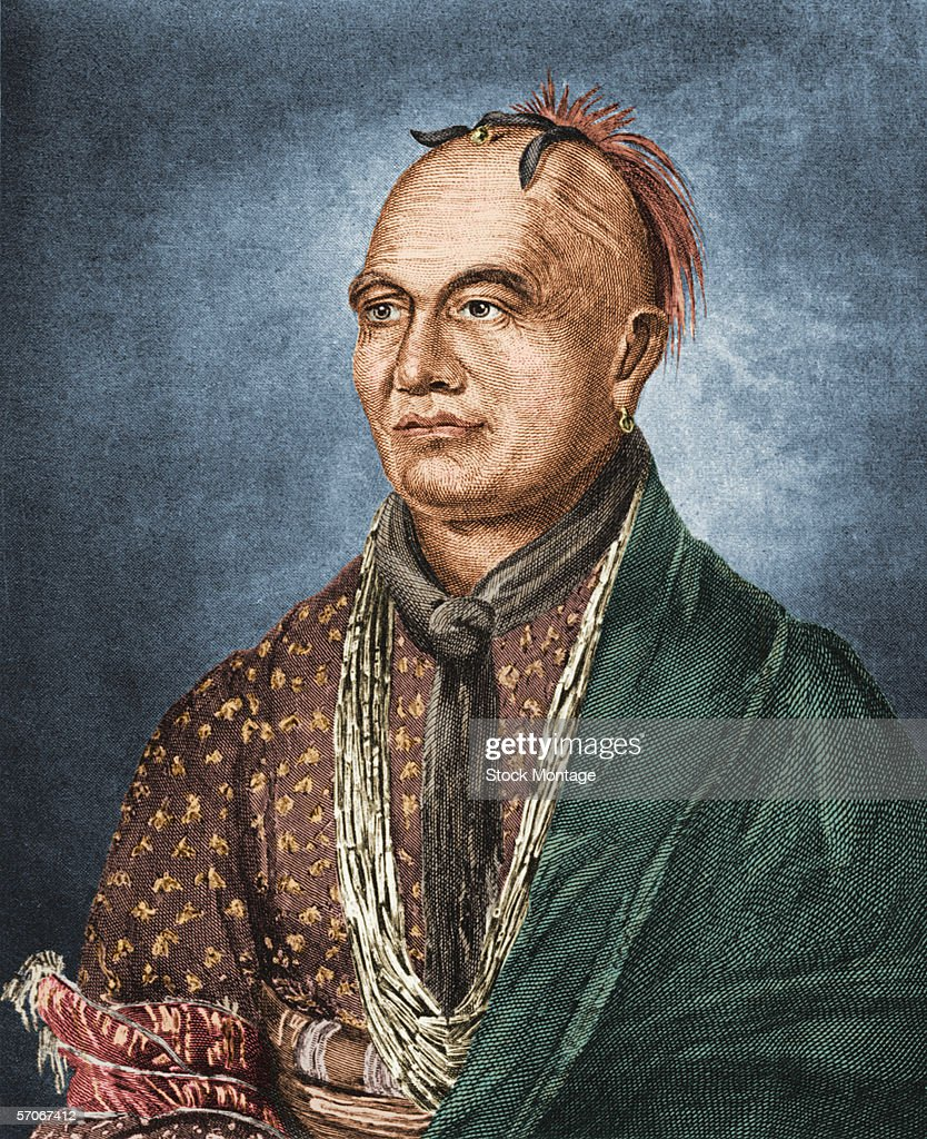Colorized engraving shows a portrait of Thayendanega or Joseph Brant a Mohawk chief educated by the British late 1700s