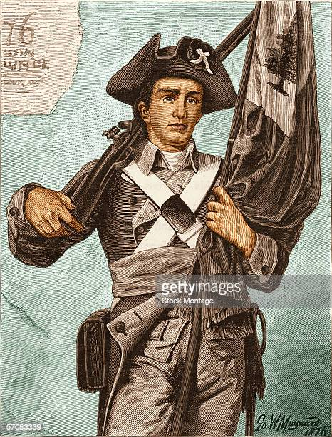 Colorized engraving shows an American 'Minuteman' a militia member during the American Revolutionary War late 1700s