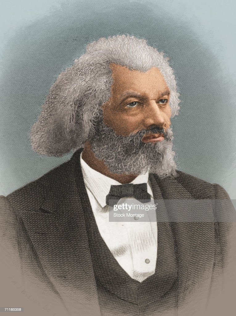A colorized print shows a portrait of American statesman, editor, and author <a gi-track='captionPersonalityLinkClicked' href=/galleries/search?phrase=Frederick+Douglass&family=editorial&specificpeople=95956 ng-click='$event.stopPropagation()'>Frederick Douglass</a> (1818 - 1895), late 1800s.