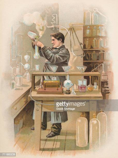 A colorized print shows American inventor Thomas Edison at work in his laboratory New Jersey 1880s