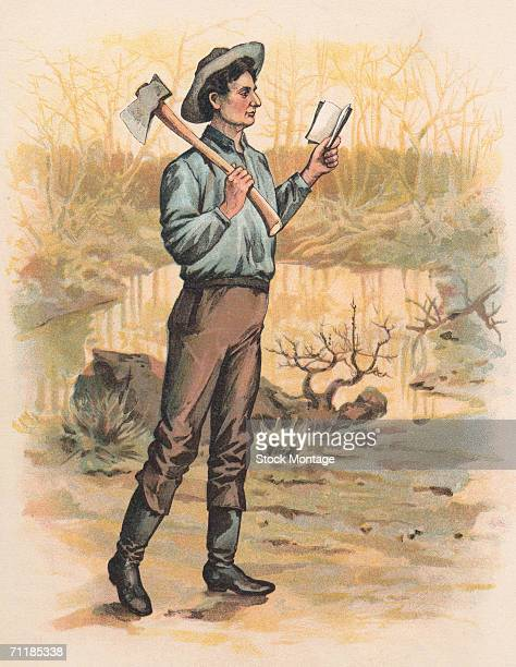 A colorized print shows future American President Abraham Lincoln as he walks an open book in one hand and an axe over his shoulder 1830s