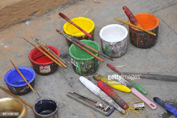 Colors for decorating idol Seto Machhendranath at Jan Bahal Kathmandu Nepal on Tuesday January 2017 Seto Machhendranath is known as the god of rain...