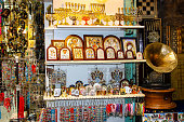 Closeup of religious objects  in a souvenirs shop in the bazaar of the old city of Jerusalem