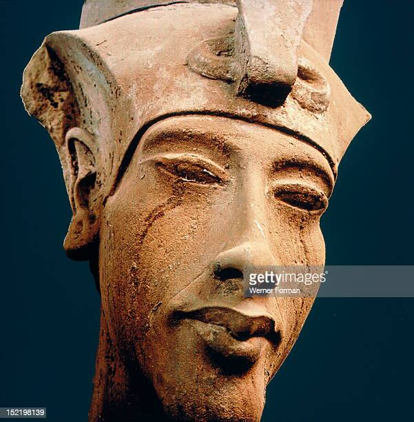 A colossal head of Amenhotep IV in the Double Crown Detail Egypt Ancient Egyptian 18th dynasty early Amenhotep IV Karnak Aton Temple