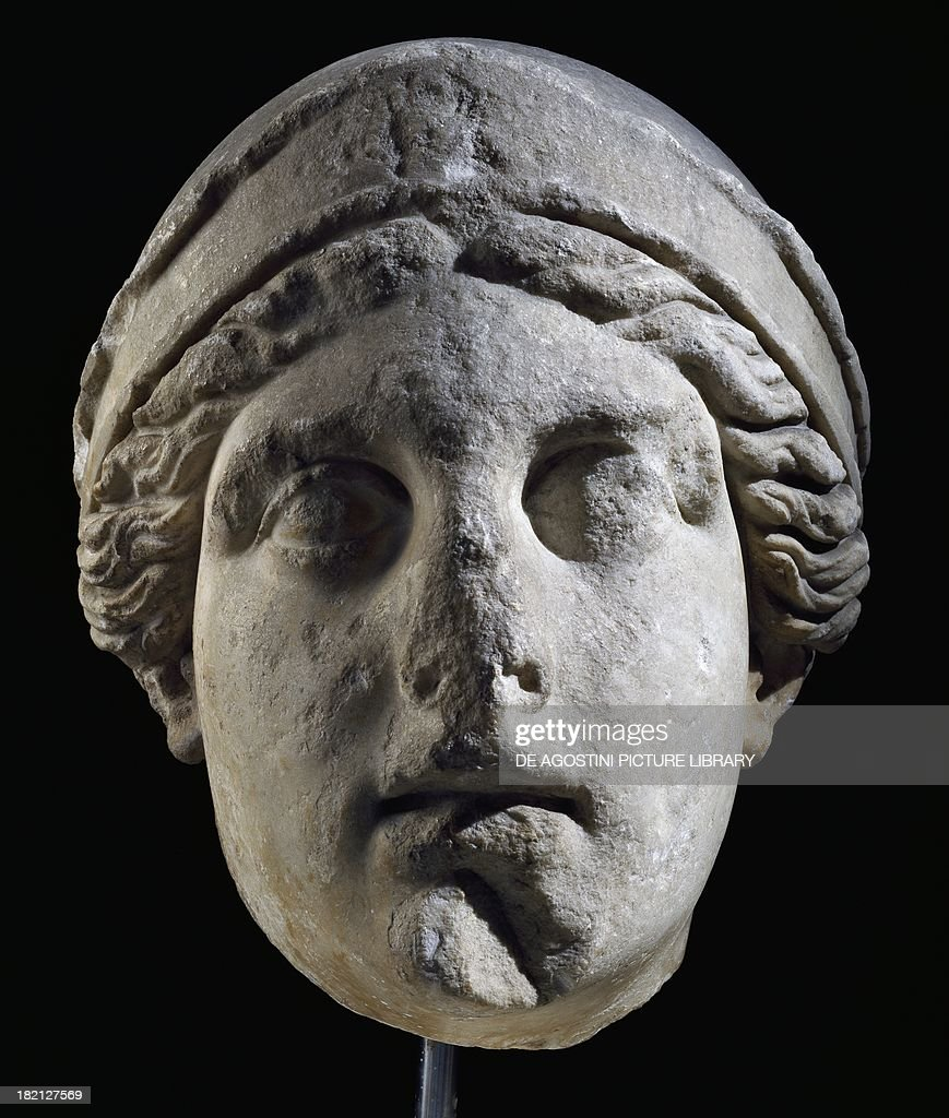 Colossal marble head of Athena artefact uncovered in Bornova Turkey Hellenistic Civilisation 2nd century BC Izmir Izmir Arkeoloji Muzesi