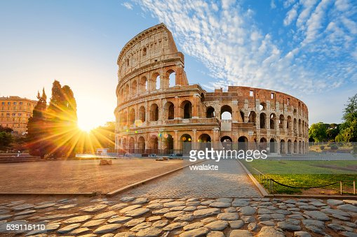 Colosseum in Rome and morning sun, Italy : Stock Photo