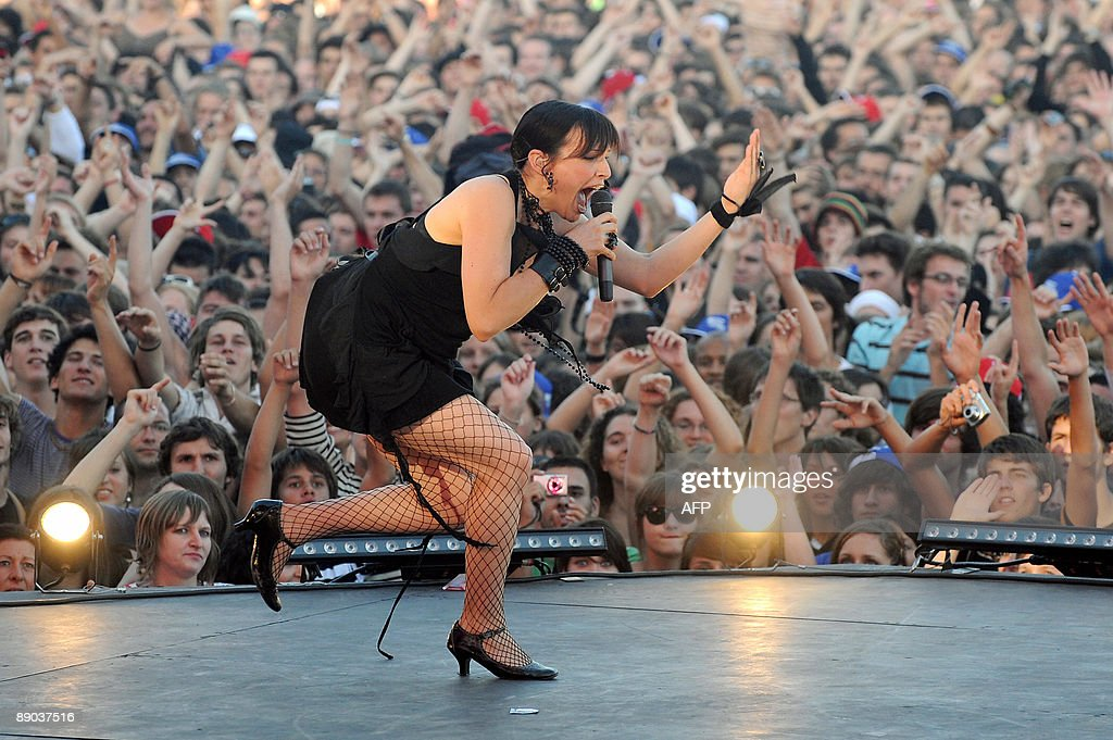 Colotis Zoe, lead singer of French band Caravan Palace performs on stage during the 25th edition of the Francofolies music festival, on July 14, 2009, in La Rochelle, western France.