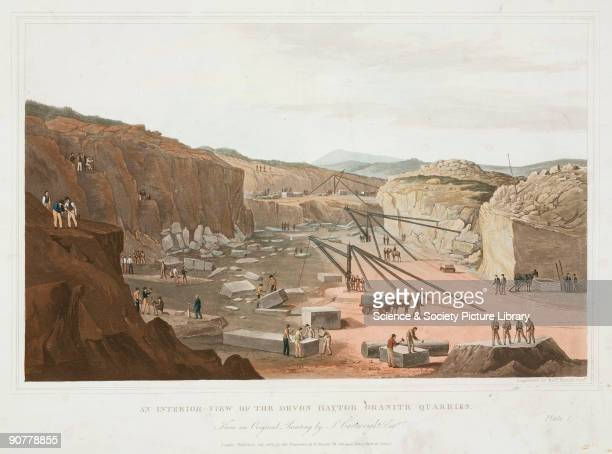 Colour aquatint engraved by Robert Havell Junior after an original painting by J Cartwright showing a view of the Hay Tor quarries on Dartmoor During...