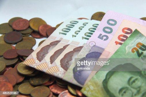 Farbe-dollar-Münze Bargeld von Thailand Geld : Stock-Foto