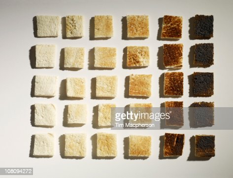 Colour grid chart made of toast : Foto de stock