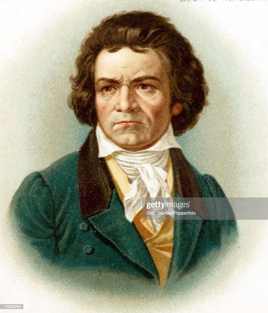 Colour illustration, Composers, <a gi-track='captionPersonalityLinkClicked' href=/galleries/search?phrase=Ludwig+van+Beethoven&family=editorial&specificpeople=67202 ng-click='$event.stopPropagation()'>Ludwig van Beethoven</a>, German composer, (1770-1827), Portrait