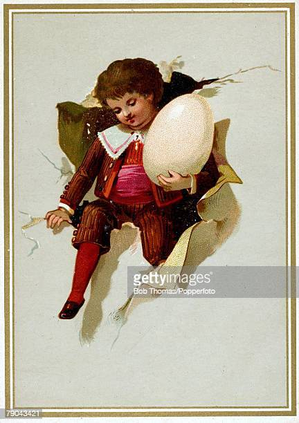 Colour illustration Easter postcard circa 1910 Child carrying an egg for easter