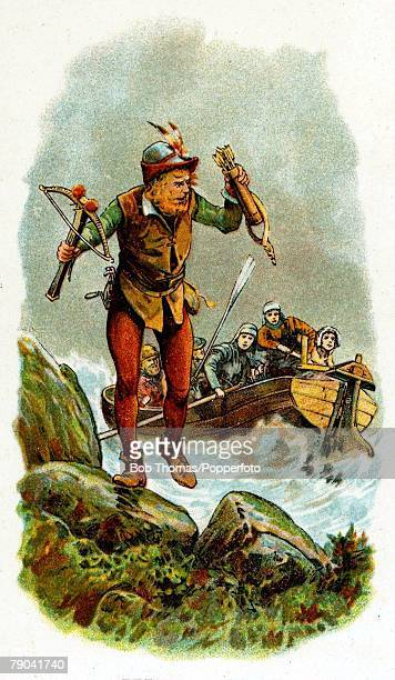 Colour illustration 'Great Escapes' William Tell the famous Swiss patriot and archer escapes from a boat after being taken prisoner by Austrian...