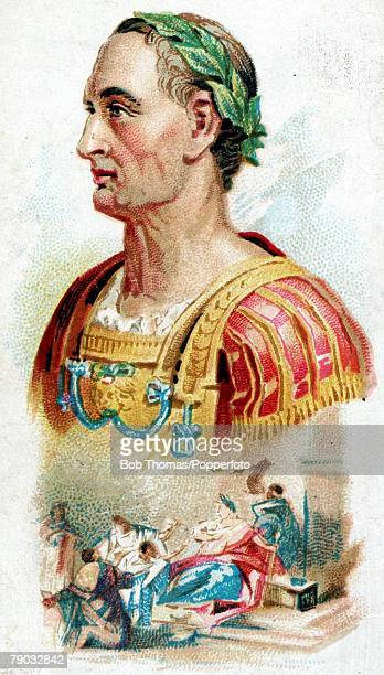Colour illustration Julius Caesar Roman statesman and general