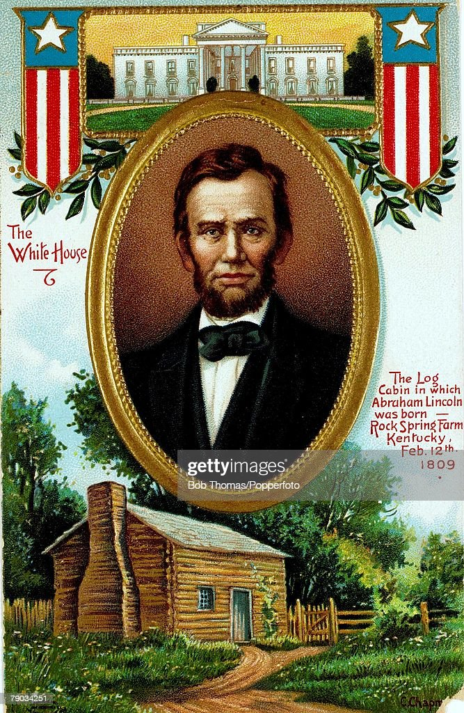 Colour illustration Politics Abraham Lincoln US politician 16th President of the United States Illustration shows the log cabin where Abraham Lincoln...