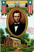Colour illustration Politics Abraham Lincoln US politician 16th President of the United States Illustration shows the log cabin where Abraham Lincoln...