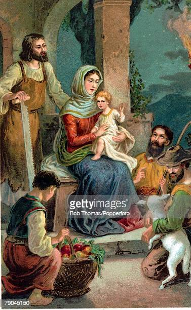 Colour illustration Religion Biblical scenes The Nativity Bethlehem The Virgin Mary Joseph and the baby Jesus visited by the three wise men