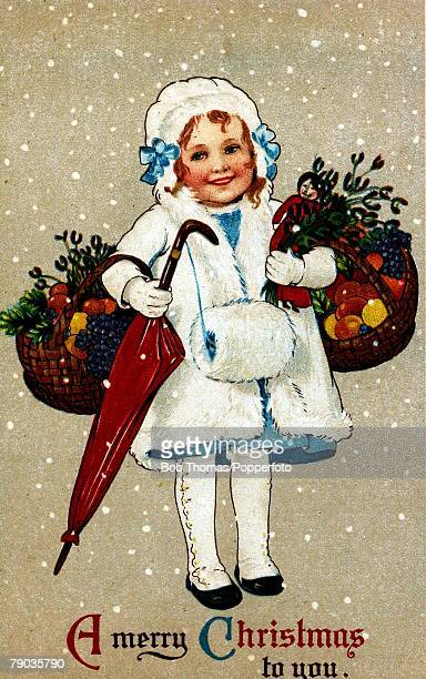 Colour illustration Victorian era Christmas card Little girl dressed in white with hat gloves and muff with baskets of fruit