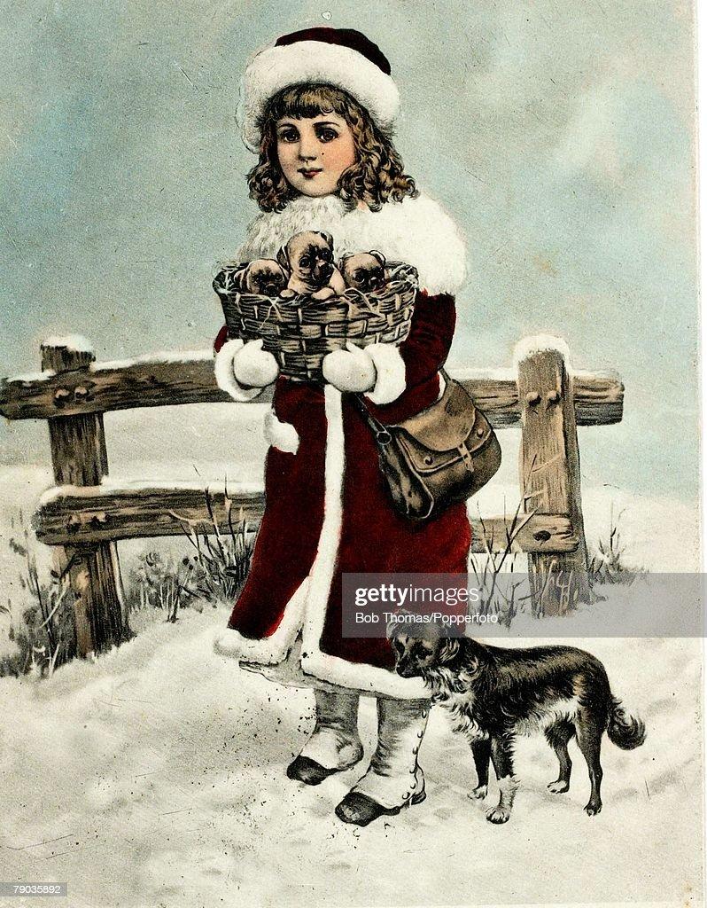 colour illustration victorian era christmas card small in