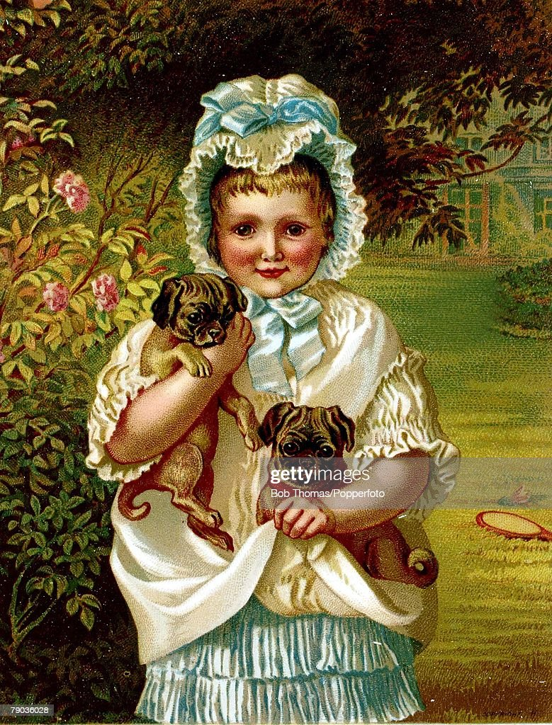 colour illustration victorian era new years greeting card little