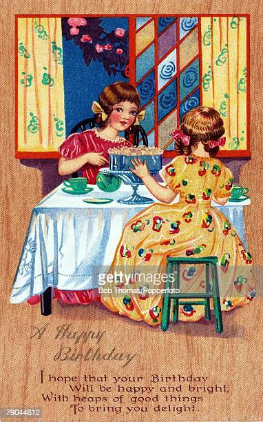 Colour illustrationBirthday card circa 1915 Two girls sit down at a tea party