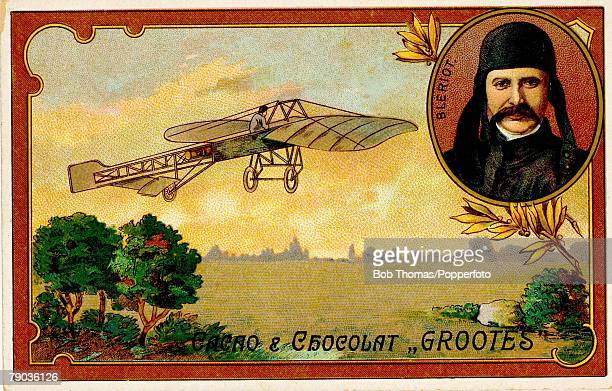 Colour illustrationEarly Aviation Trade card Louis Bleriot the first man to fly an aeroplane across the channel on 25th July 1909