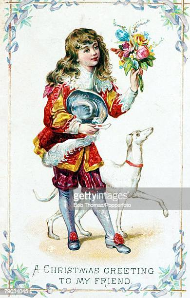 Colour Illustrations Victorian era christmas greeting card A young girl wearing fashionable clothes of days gone by from the previctorian period...