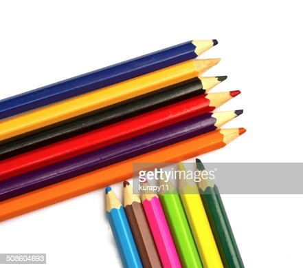 Colour pencils  on white background close up : Stock Photo