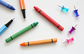 Color pens and crayons isolated